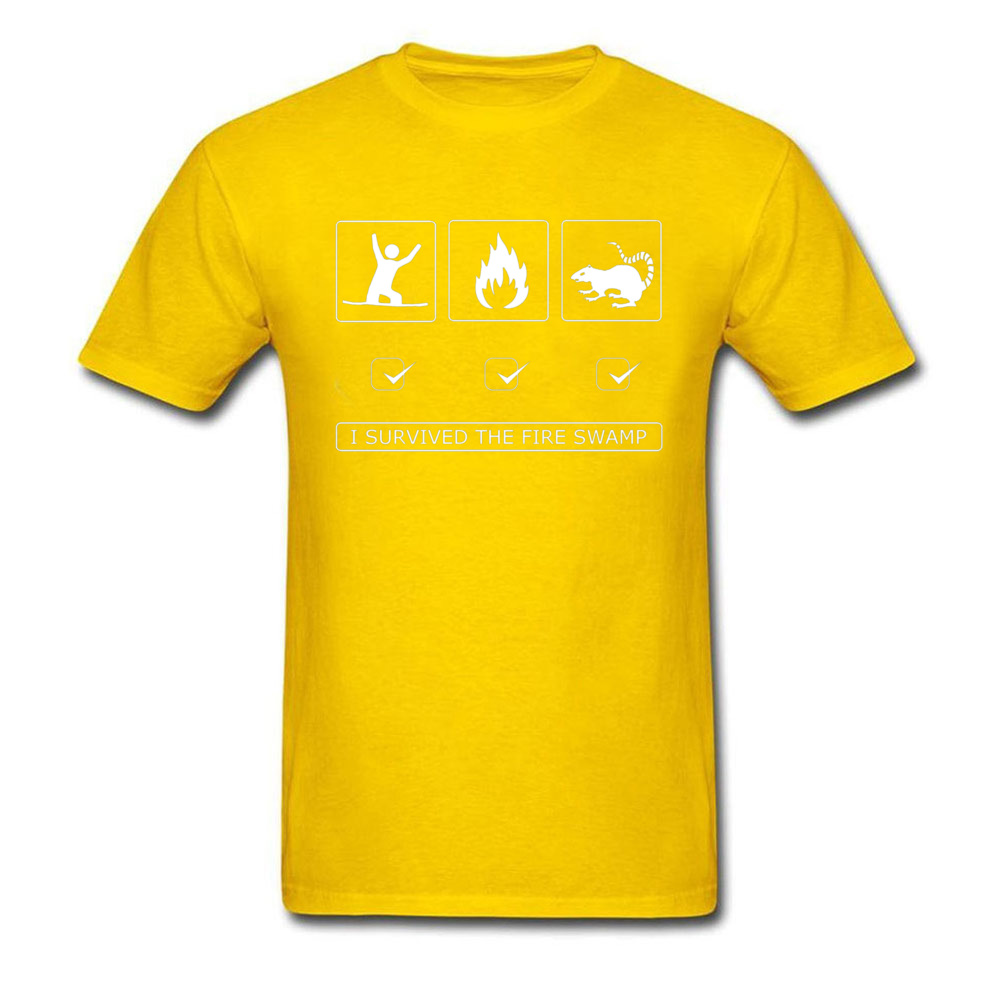 Discount Man Top T-shirts Customized Summer Tops & Tees 100% Cotton Short Sleeve Europe T-Shirt Round Neck Top Quality I survived the fire swamp 3004 yellow