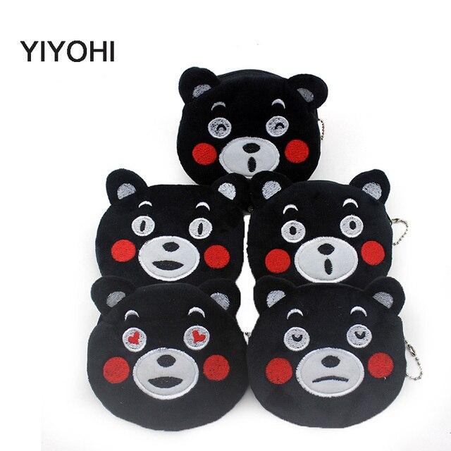 Hot On Sale Kawaii Black Bear Cartoon Kumamon Children Plush Coin Purse Zip Change Purse Wallet Kids Girl Women For Gift