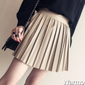 Nuevo 2015 de Corea Moda Negro PU Falda De Cuero Vintage Mujer de Cintura Alta Falda Plisada Envío gratis Mujer Faldas Cortas