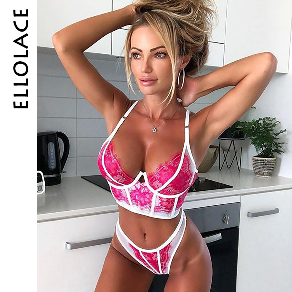 Ellolace Pink Sexy Lace Brasserie Set Women Patchwork 2019 Fashion Bra Brief Sets Transparent Mesh Sexy Underwear Lingerie Set