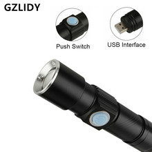 3 Mode Tactical Flash Light Torch Mini Zoom Rechargeable Powerful USB LED Flashlight Lanterna For Outdoor Travel