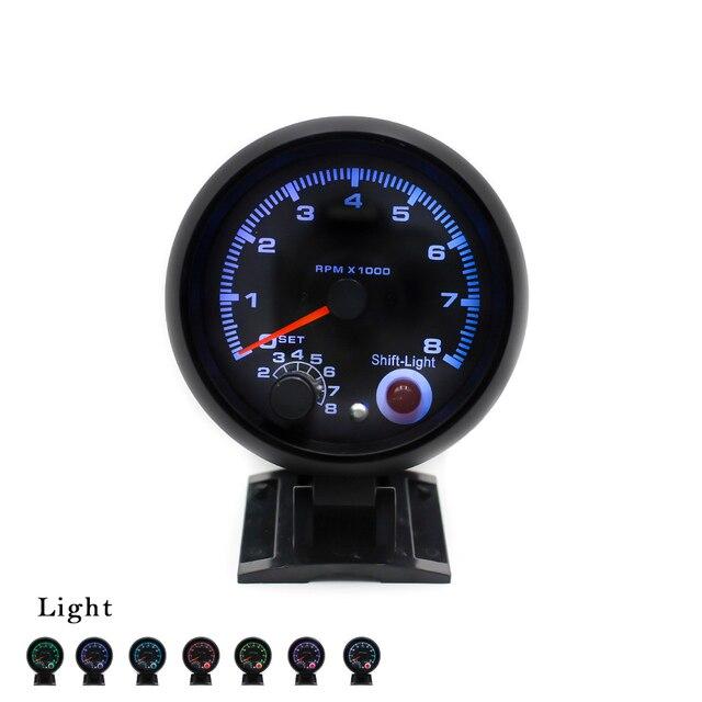 80mm Universal Auto Car Tachometer RPM Gauge 7 Colors Led 0-8000 RPM  Black Case Auto Gauge TachometerYC100142