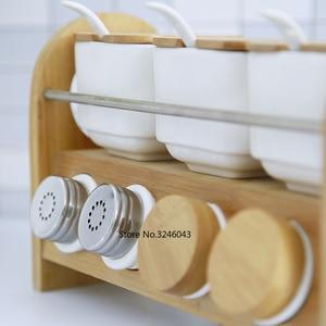 Image 2 - Caja de cerámica creativa para especias, tarro para especias, aceite para el hogar, sal, pimienta, condimento, juego de 7 piezas