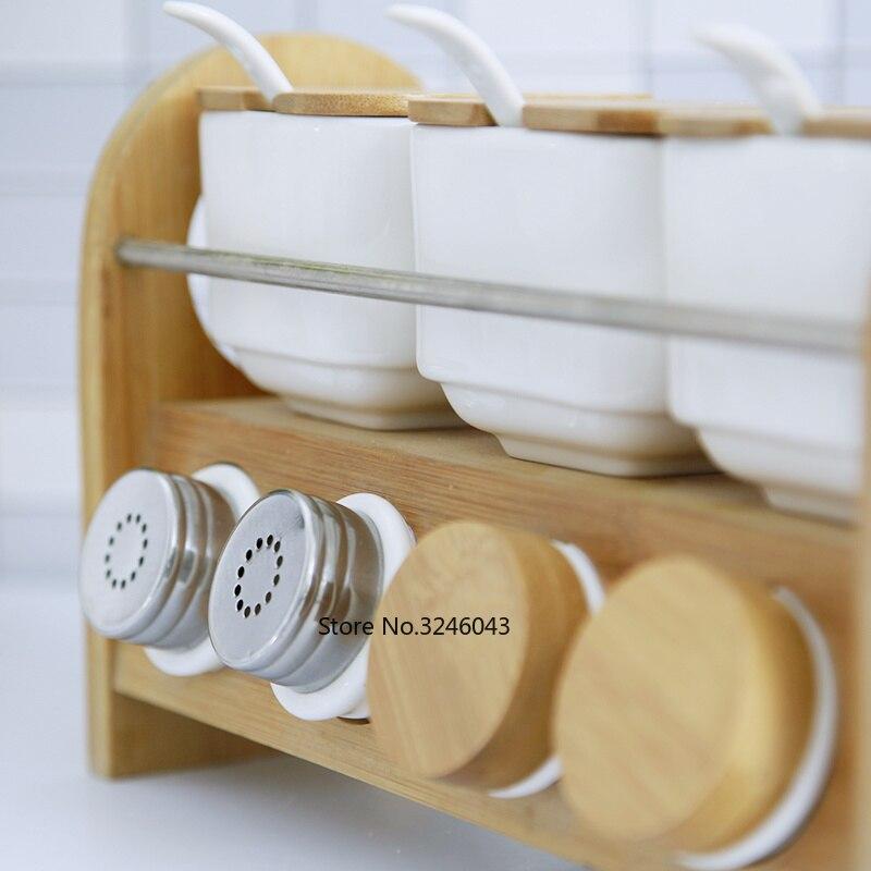 Image 2 - Kitchenware Creative Ceramic Spice Box Spice Jar Household Oil  Salt Pepper Seasoning Box Combination 7 Piece SetSalt Pigs, Cellars