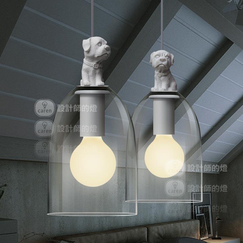 ФОТО Modern Brief Fashion Retro Loft Country Creative White Resin Dog Glass Edison Pendant Lamp Study Restaurant Home Decor Lighting