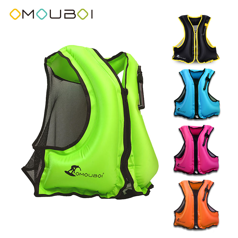 OMOUBOI Water Sport PFDs Buoyancy Life Jacket Inflatable Surfing Rash Vest Swim Safety Rescue Jacket For Adult 80-220lbs Unisex цена и фото