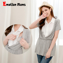 wholesale 2015 New Cotton  V-Neck Short Nursing Tops Maternity Clothes Breastfeeding for Pregnant