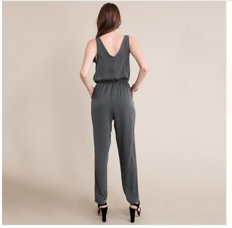 2018 Summer Women Jumpsuits Sleeveless Ladies Chiffon Overalls Fashion Loose Casual Jumpsuits High Waist Overalls Vintage WQ521