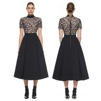 Women Luxury Black Crocheted Lace Floral Short Sleeve O Neck Pleated Dress Evening Party Holiday Nightshade