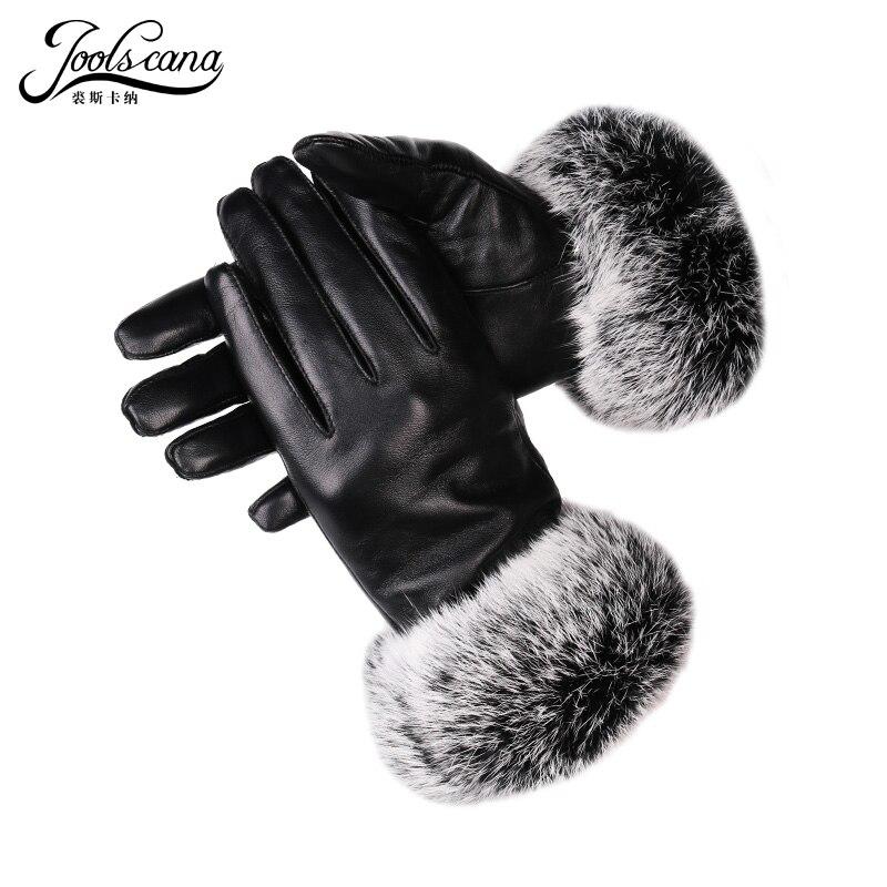 JOOLSCANA Winter Women Leather Gloves Real Rabbit Fur Wrist Touch Screen Glove Italian Imported Genuine Sheepskin Mitten Warm