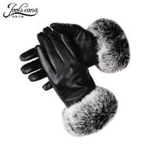Natural italian imported lamb leather gloves  women with natural rabbit wristband autumn winter gloves warm touch screen Gloves