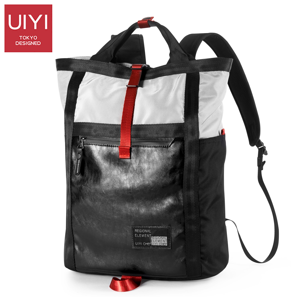 UIYI Men s backpack autumn new gray polyester cloth bag man Black PVC casual large capacity