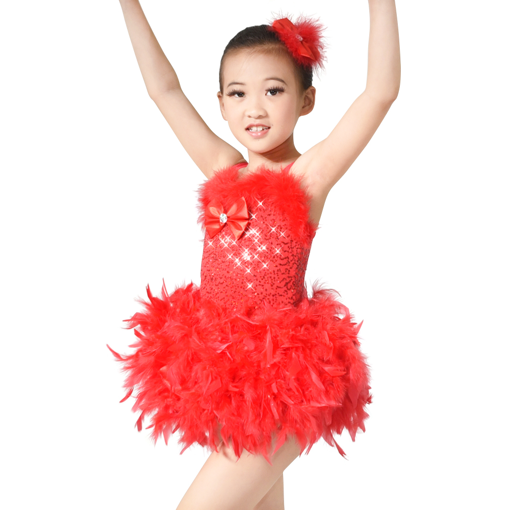 Dekle Camisole Perje Sladkorno dekle Balet Tutu Dance Dress Cheers Dance Costumes Party Obleke