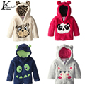 2017 Baby Girl Clothes Cartoon Coats Autumn Fashion Boy Jackets Coral Fleece Animal Embroidered Jackets Girl hooded Casual Coat