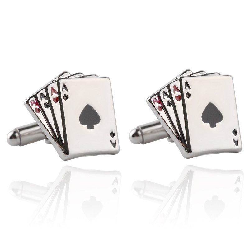 1 pair Fashion Vintage 4A Poker Cufflinks For Men High Quality Exquisite Stainless Steel Silver Cuff Links Suits Wedding Gift