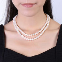 Double strand 9 10MM freshwater NATURAL WHITE PEARL NECKLACE 1819 14K GOLD