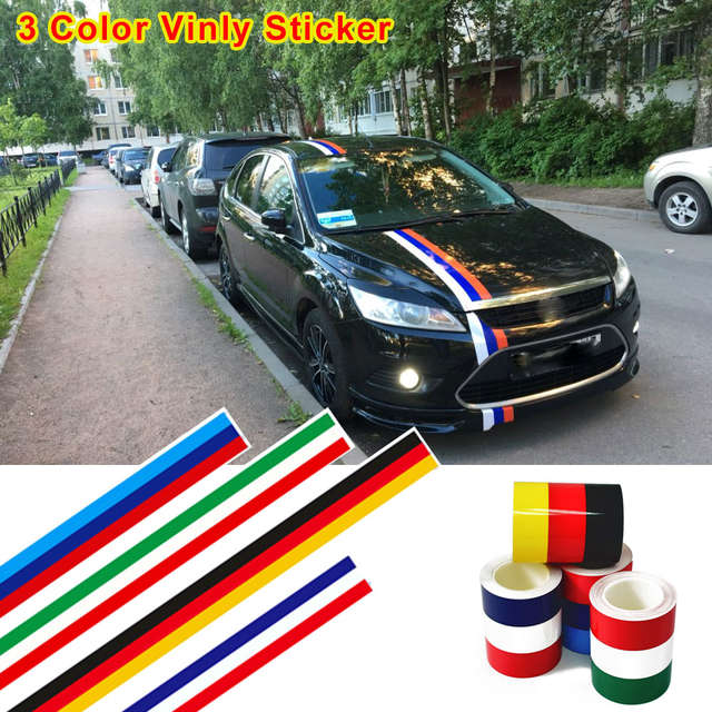 Car-Styling Vinyl Sticker 3 Color Flag Glossy Wrap For BMW E46 E39 For VW  Golf Polo For Seat Leon For Mitsubishi Outlander