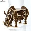 Criativo moderno Conjunto de Mesa de Café De Madeira Mesa Lateral Mobiliário Estudo Estante De Armazenamento Doméstico Rinoceronte 54*44*116 cm