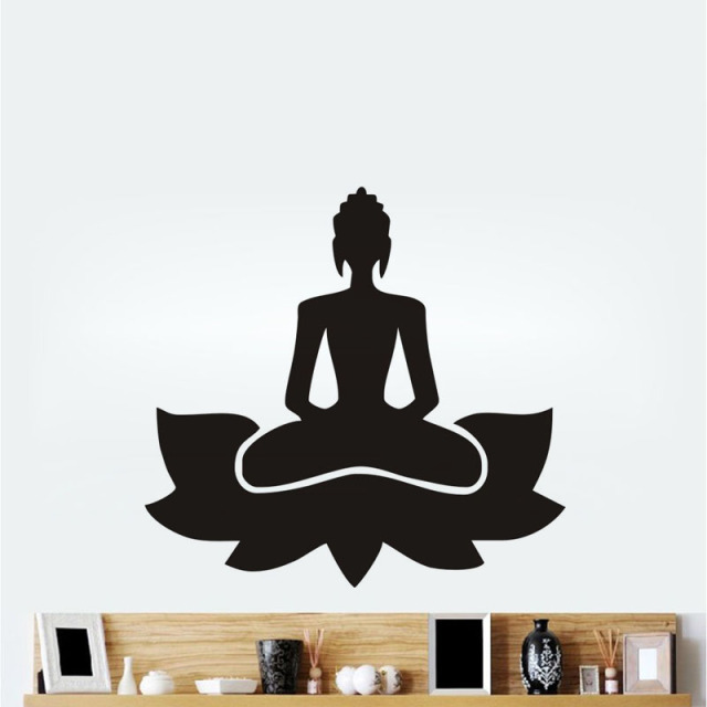 meditate yoga lotus pose wall stickers vinilos decorativos waterproof yoga studio dedicated. Black Bedroom Furniture Sets. Home Design Ideas