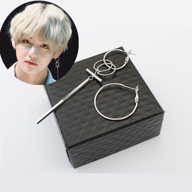 Pop Jewelry Korean BTS Bangtan Boys Album V DNA Silver Stud Earrings For Women Vintage Long Men Earrings Geometric hot sell