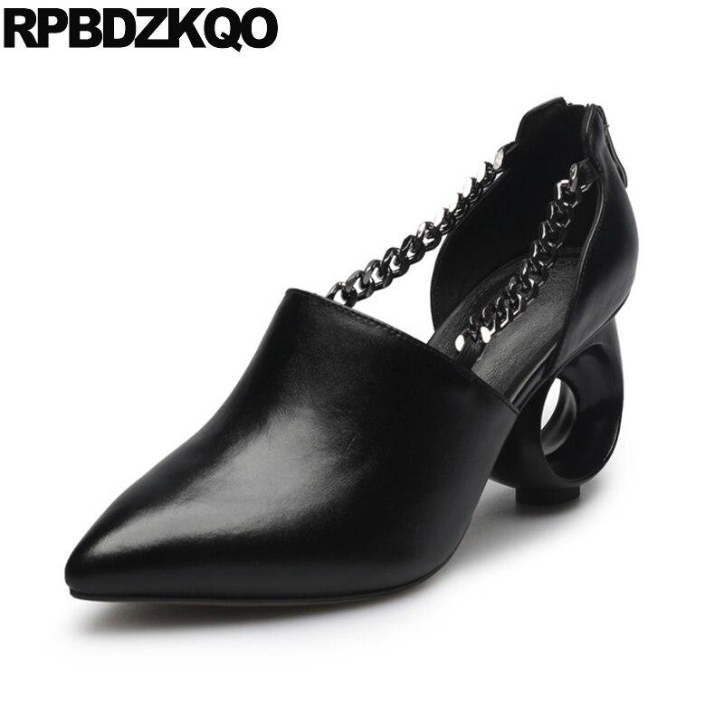 Reißverschluss D'orsay Metall 3 Zoll Echtem Leder High Heels Designer Frauen Luxus 2017 Spitzen Kette Pumps Sandalen Schuhe Schwarz Seltsame