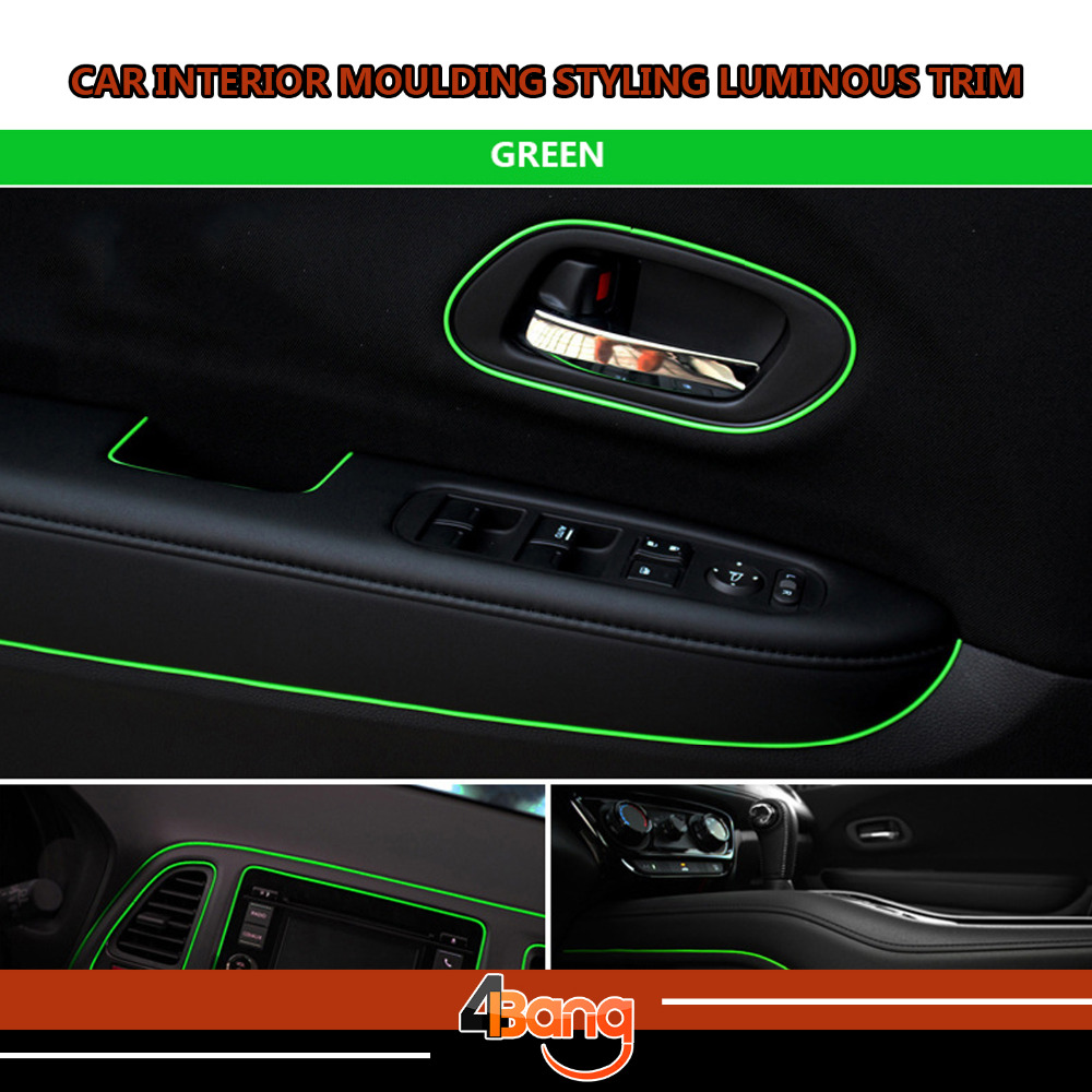 20M Car Interior Decoration Moulding Styling Trim DIY Strip Luminous Green Color Flexible No Need Adhesive