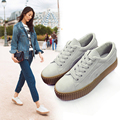 Black canvas shoes female thick soled shoes Korean students all-match shoes