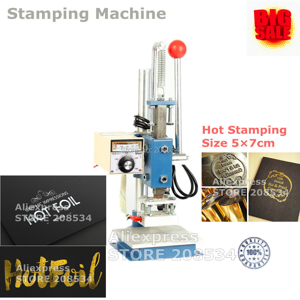 5X7CM Manual Hot Foil Stamping Machine For Leather Wood ,Leahter ,Hot 220V  NEW