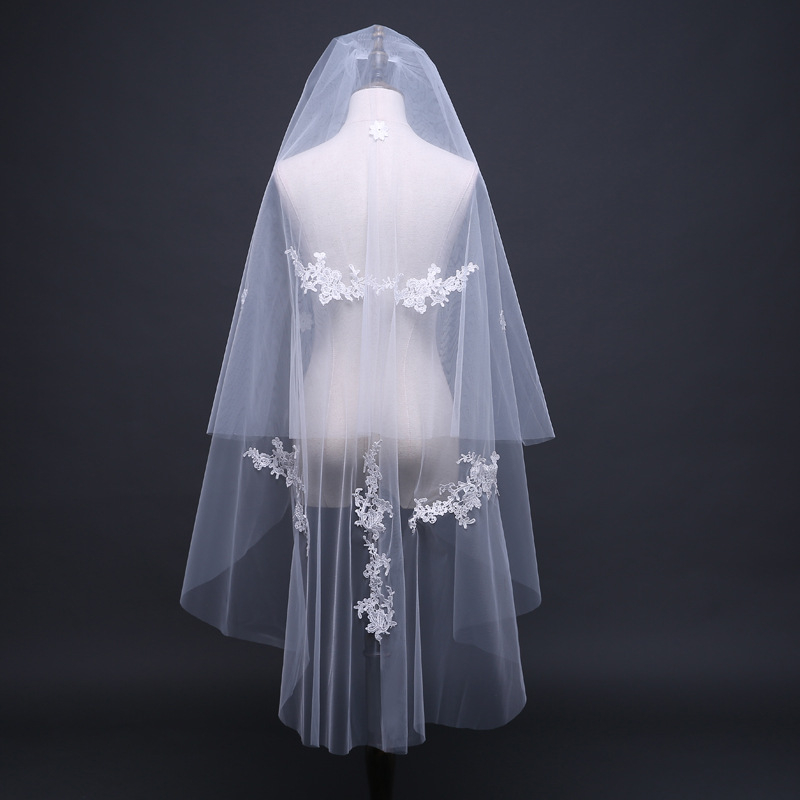 Simple Cheap Two Layers 120cm Bling Applique Lace Soft Tulle Short Wedding Veils Ivory Bridal Veil