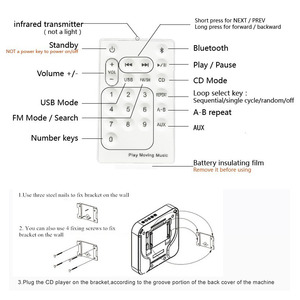 Image 5 - Портативный CD MP3 плеер Bluetooth, настенный домашний аудио магнитофон, динамик, пренатальный с дистанционным управлением, fm радио, USB репитер