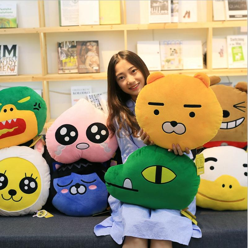 1PC Kakao Friends Pillow Ryan Cocoa Plush Doll Toy Stuffed Toys Ryan Car Cushion Pillow Travel Pillow Emoji Doll32cm simple plain pillow 1pc
