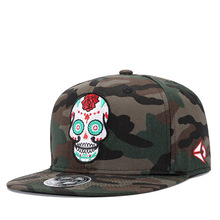Camouflage Cotton Men Hip Hop Cap Skull Rose Embroidery Snapback Caps For Women Baseball Cap Adjustable Street Dancer Hat