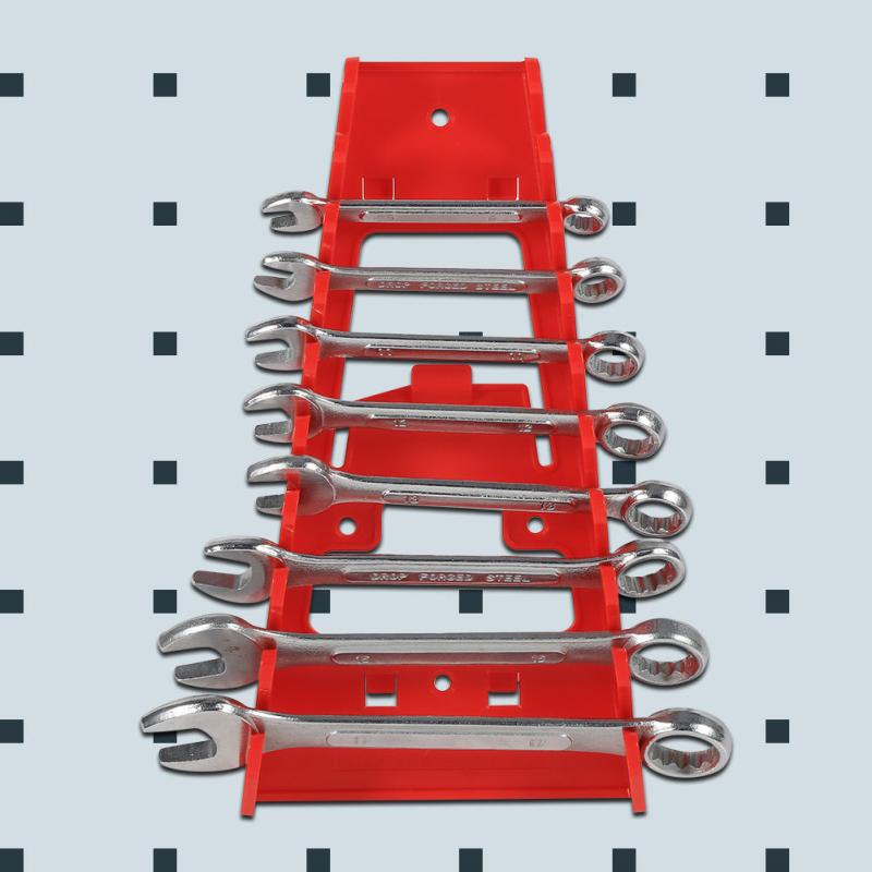 Wall Mounted Plastic Red 9 Slot Wrenches Rack Standard