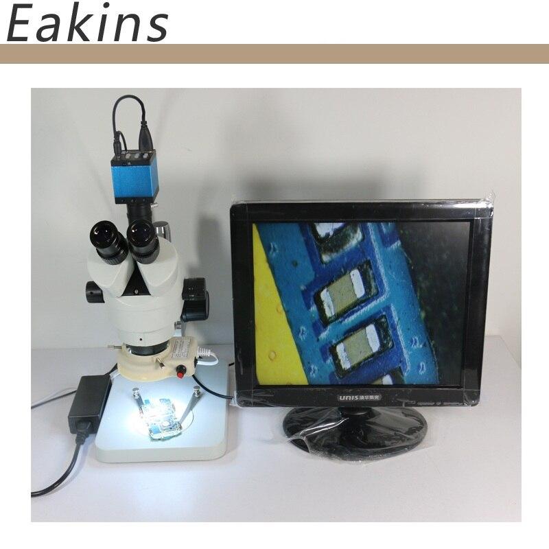 Continuous zoom binocular visual 7-90X Trinocular stereo microscope+14MP HDMI USB Industrial Camera+56 LED light for LAB PCB  continuous zoom binocular visual 7x 90x trinocular stereo microscope digital microscope camera vga cvbs usb av tv outputs