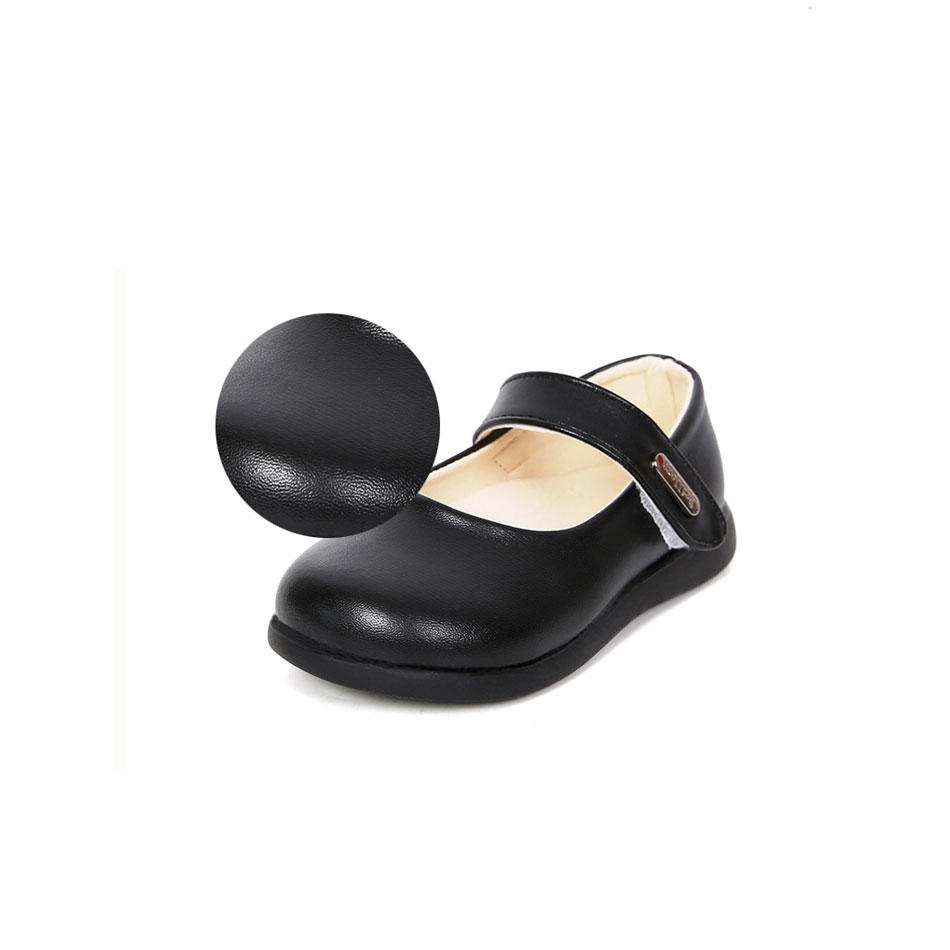 MSMAX Children Shoes Leather Flat Round Toe Cow Muscle Girls Dress Party Shoes Hook&Loop Kids School Wedding Single Shoes