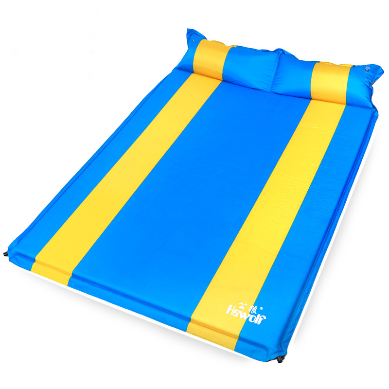 Outdoor Self Inflatable Camping Mat Double Inflatable Bed Moistureproof Cushion Mattress Sleeping Pad Tent Mat With Pillows spliced air mattress self inflating pad automatic inflatable camping mat moistureproof folding tent bed outdoor sleeping airbed