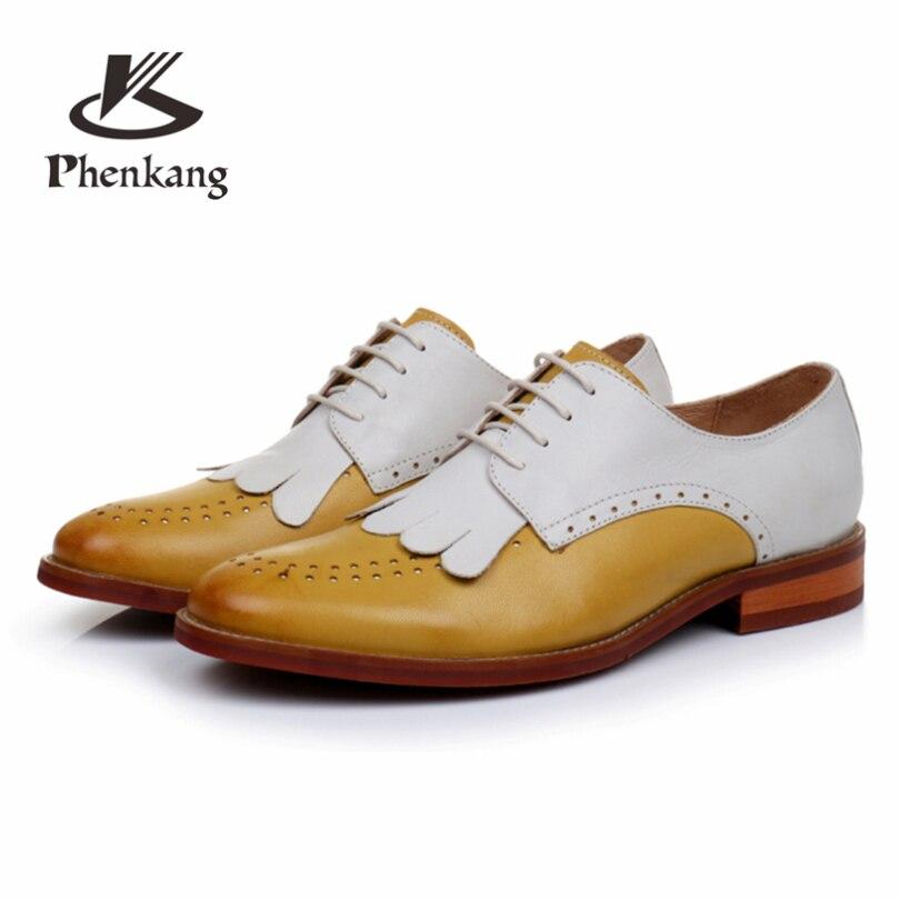 Phenkang Genuine Leather summer brogues shoes Yinzo Women lace up Sheepskin yellow Flats Lady Shoes Handmade woman sneakers