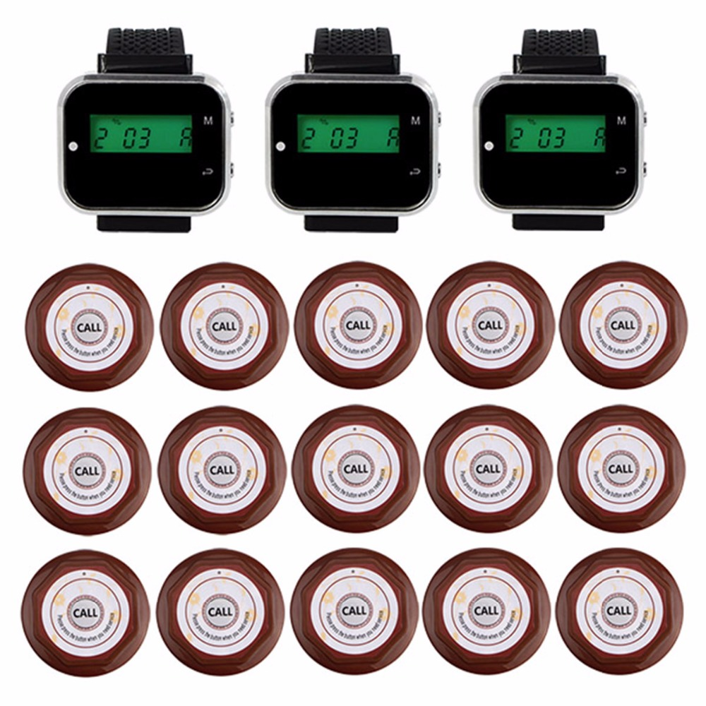 Restaurant Guest Pagers Wireless Waiter Calling Paging System For Cafe 3 Wrist Watch Receiver + 15 Call Button Transmitter F3360 недорго, оригинальная цена