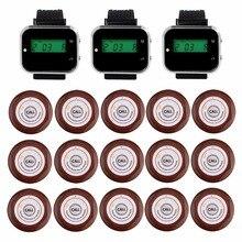 Ресторан гость пейджеры Беспроводной вызова официанта подкачки Системы для кафе 3 наручные часы приемник + 15 кнопки вызова передатчик F3360