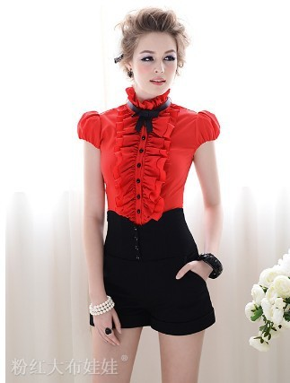 Summer New Arrival Pink Doll Style All Matching High Waist Short Pant Black Free Shipping S/M/L