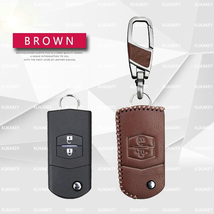 KUKAKEY Flip Folding Car Key Case for Mazda 2 3 5 6 CX5 CX-5 M2 M3 M5 M6 Leather Keychain Keyring Key Holder Cover Bag Shell Color Name Red 2Key