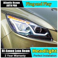Car Styling For FORD KUGA Headlights U Angel Eyes DRL 2013 2015 For FORD KUGA LED