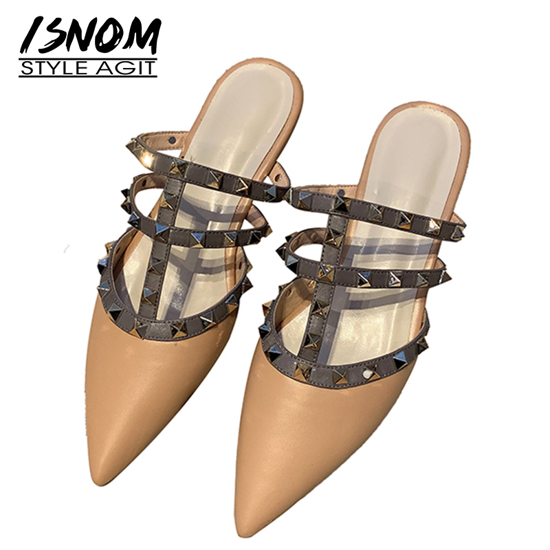 ISNOM Studded Summer Slippers Female 2019 New Women Slides Shoes Pointed Toe Mules Shoes Leather Rivet