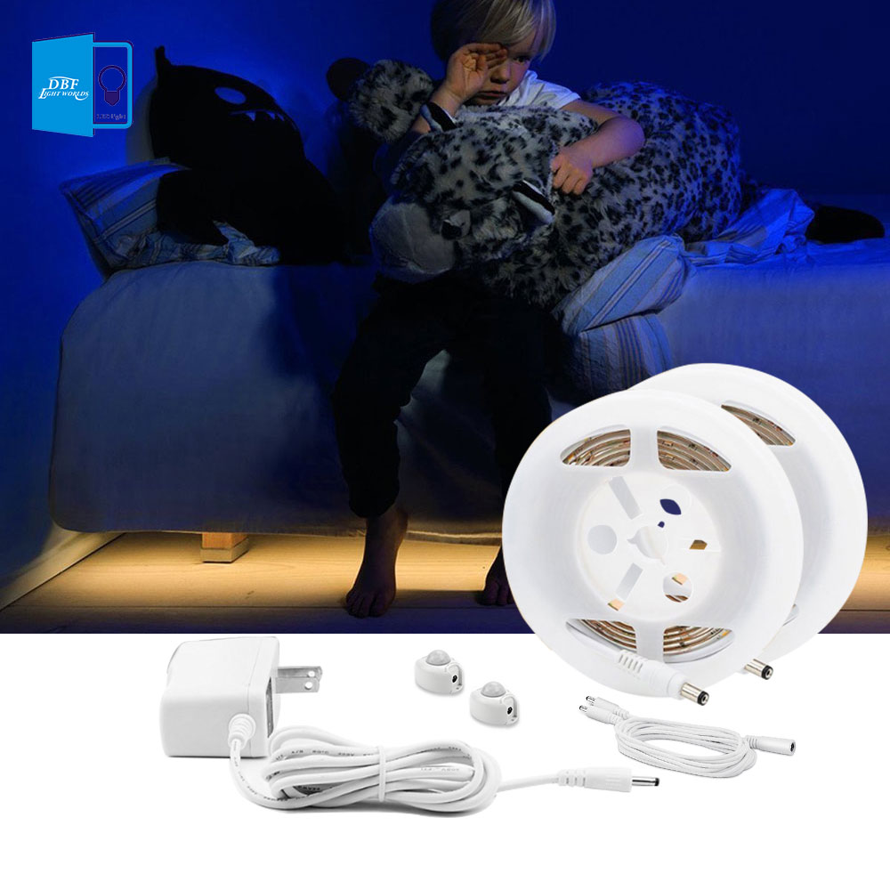 12V 1.2M Flexible LED Strip Sensor Night Light Motion Activated Bed Light with Dual sens ...