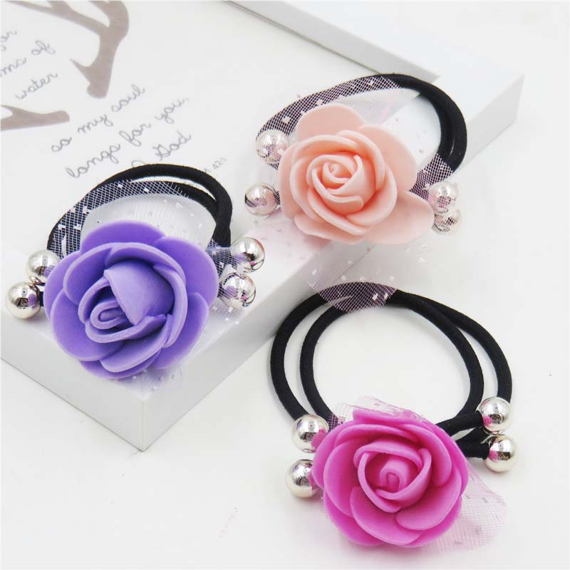 1PCS Mesh Rose Flower Elastic Hair Bands For Girls Bohemian  Headband Scrunchy Korean Fashion Kids Hair Accessories For Women
