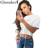 Glamaker Front Lace Up White Blouse Shirt Women Tops Short Casual Shirt Summer Solid Female Blouse