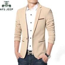 Весна Осень Роскошный мужской блейзер повседневный деловой хлопковый приталенный мужской пиджак размера плюс M-5XL мужской блейзер