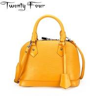 Twenty Four Women Shell Bag Real Leather Handbag Crossbody Bag OL Style Shoulder Bag Tote Messenger