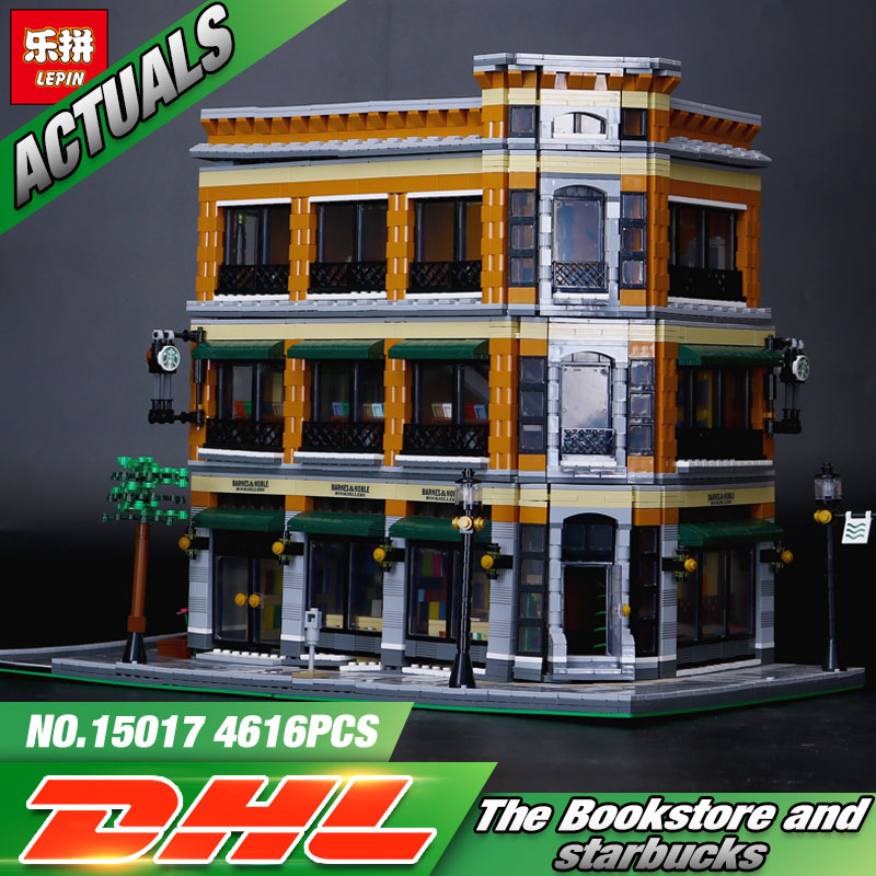 2016 New LEPIN 15017 4616Pcs Starbucks Bookstore Cafe Model Building Kits Blocks Bricks Compatible Toys Gift lepin 22001 pirate ship imperial warships model building block briks toys gift 1717pcs compatible legoed 10210