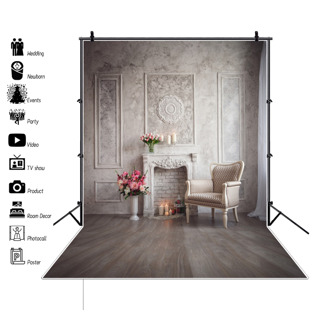Old Chic Wall White Fireplace Armchair Flower Wooden Floor Baby Interior Photo Backdrops Photography Backgrounds Photo Studio